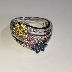 18K White Gold LeVian Sapphire Diamond Ring Bold